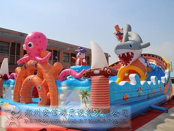 江苏游乐场大型充气鲨鱼来袭