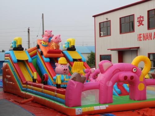 小猪飞车充气城堡滑梯